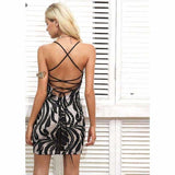 Womens Lace Backless Mini Dress