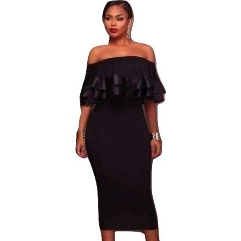 Womens Off Shoulder Ruffled Dress