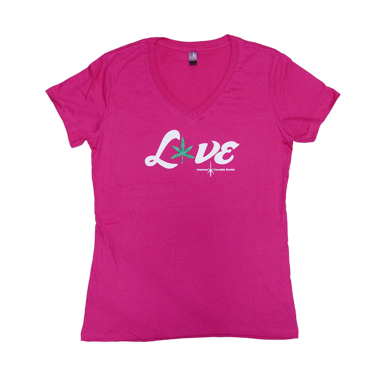 Weed Love - American Cannabis Society® Ladies V-Neck Tee - Pink
