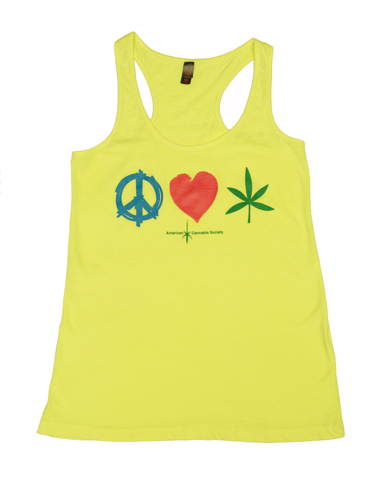 Peace, Love and Herb Ladies Racerback Tank - Neon Yellow