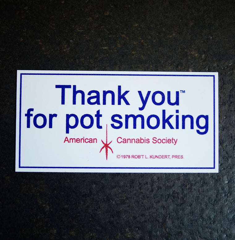 "Throw Back TYFPS® - 2"" x 4"" Vinyl Sticker - American Cannabis Society®"