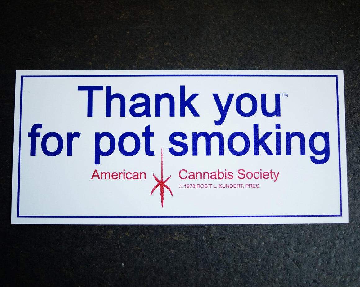 "Throw Back TYFPS® - 3-1/2"" x 7-1/2"" Vinyl Sticker - American Cannabis Society®"