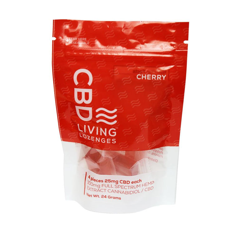CBD Living 4 ct. Cherry Lozenges Bag - 100 MG/Bag