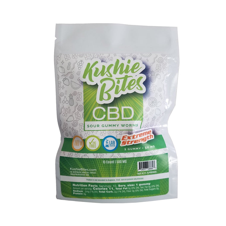 Kushie Bites 10 ct. Sour Patch Worms - 500 MG/Bag