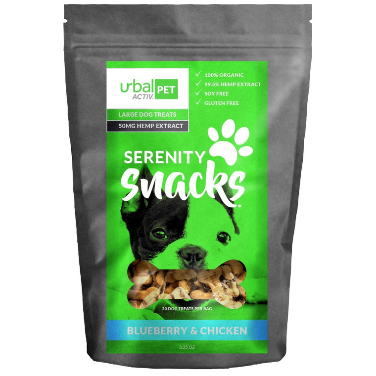 Urbal Activ Large Dog CBD Treats - Blueberry Chicken - 50 MG/Bag
