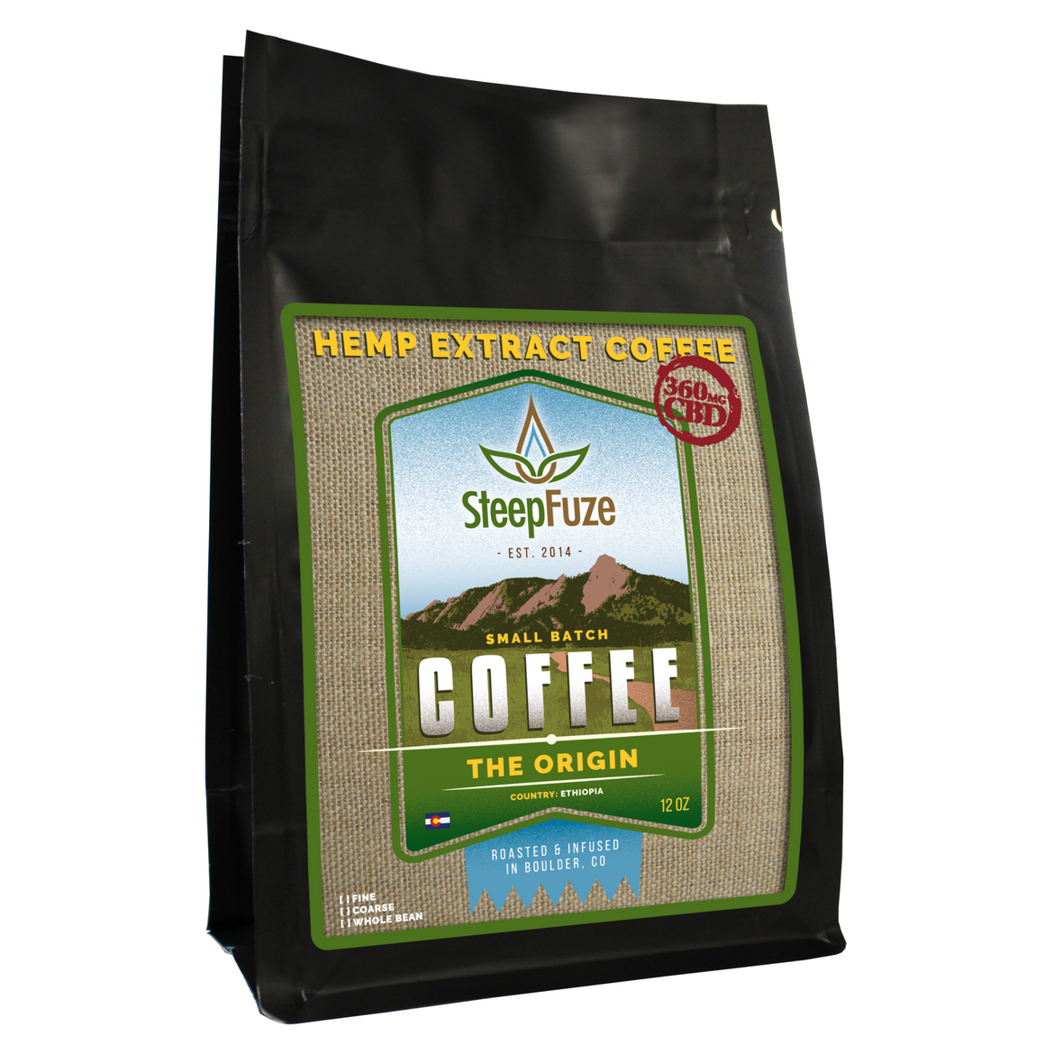 SteepFuze 12 oz. CBD Coffee - The Origin - 360 MG/Bag