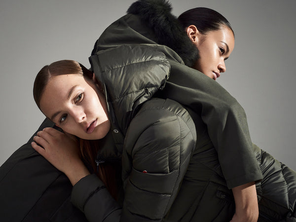 49Winters Parka Coat worn by two models