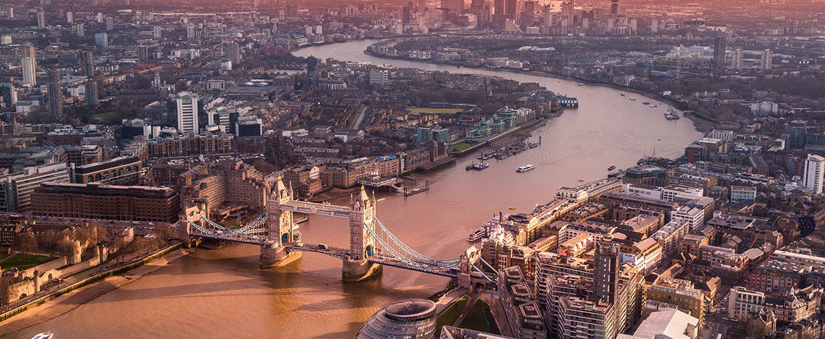 Arial London with Thames and Tower Bridge