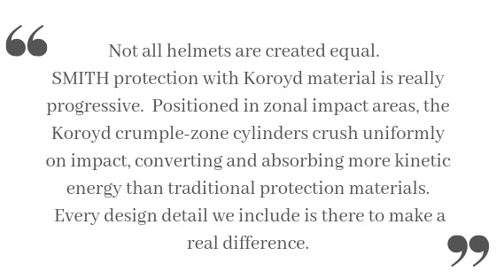 Not all helmets are created equal.  SMITH protection with Koroyd material is really progressive.  Positioned in zonal impact areas, the Koroyd crumple-zone cylinders crush uniformly on impact, converting and absorbing more kinetic energy than traditional protection materials.  Every design detail we include is there to make a real difference.