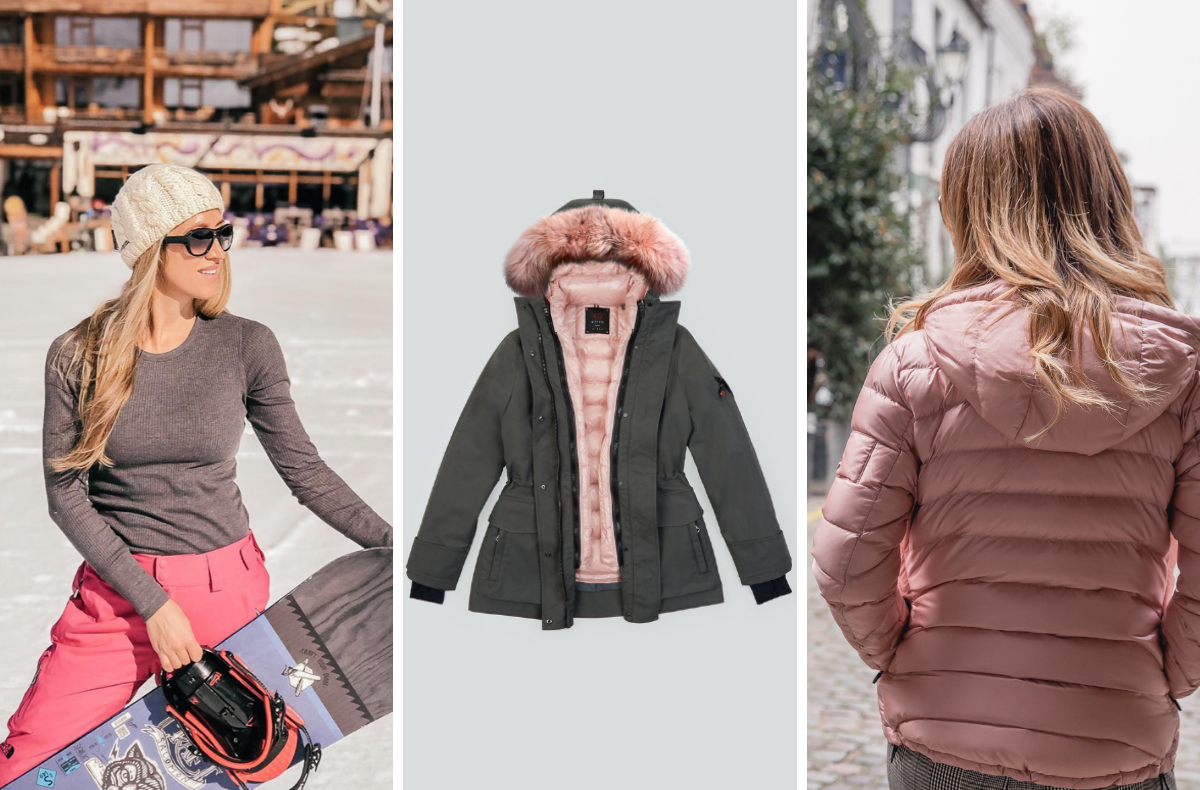 Vanessa Rivers and  Mid Parka in tornado, a blush pink Tailored Down and finish it off with blush pink trim