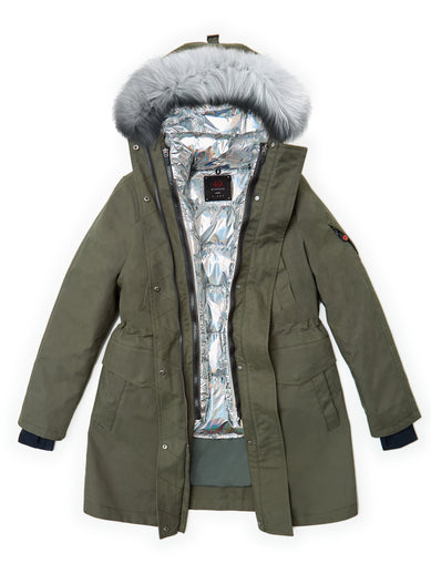 The Long Parka in Forest with The Boxy Down in Moonstone and The Fur in Luna Rock