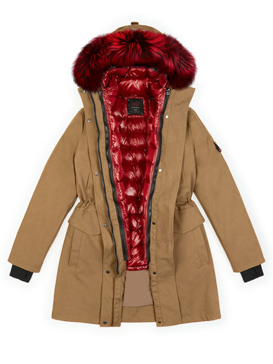 The Long Parka in Sepia with Tailored Down and The Fur and Jalepeno