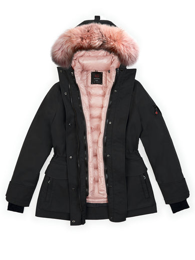 The Mid Parka in Black with The Tailored Down and The Fur in Blush Pink