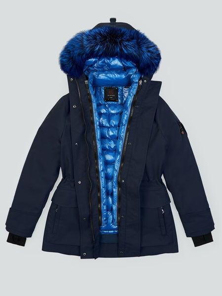 The Lapis Blue Down jacket with the Navy Mid parka, complete with Lapis Blue hood trim.