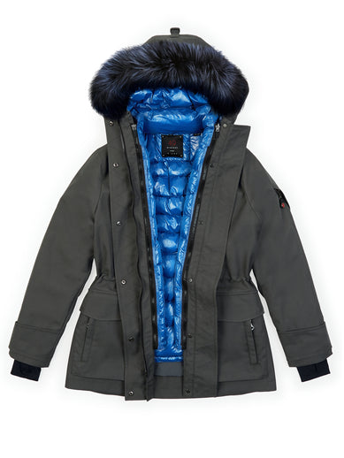 The Mid Parka in Tornado with The Tailored Down in Lapis Blue and The Fur in Tornado
