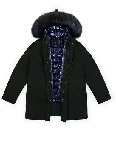 The Parka and The Fur in Black with The Down in Sapphire