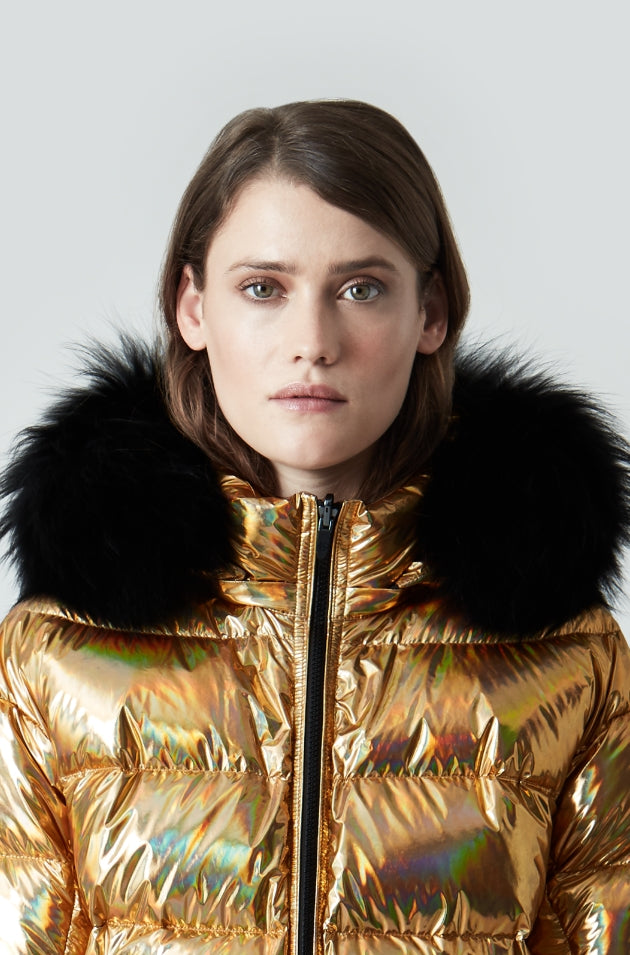 The Boxy Down in Gold with The Fur in Black