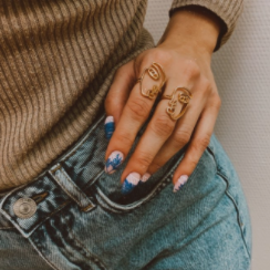 2 Pc/Set Ellie Abstract Face Rings