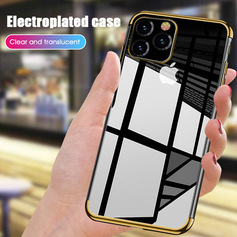 Plating Clear Silicone TPU Mobile Phone Case for iPhone 11 11Pro 11Promax