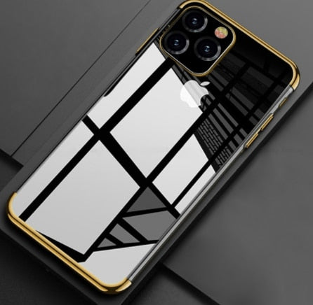 Plated Clear Silicone TPU Mobile Phone Case for iPhone 11 11Pro 11 Promax (Avail in 7 colors)
