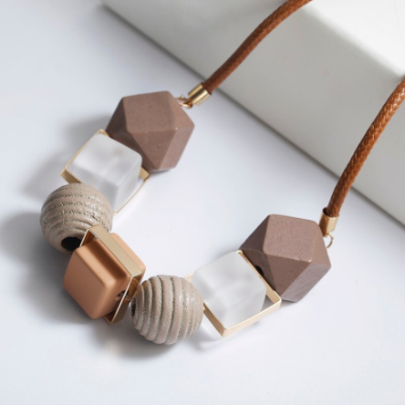 Lena Multi Acrylic Wooden Bead Geometric Necklace