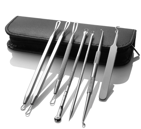 8 Pc Acne Blackhead Remover Tool Set With Pouch/Metal Box