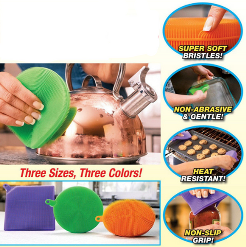 Hot sales 3 Per Pack Silicone Sponge Dish washing Brushes