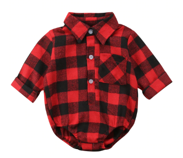 Plaid Collar Baby Romper