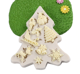 Christmas Sleigh Elk Snowflake Silicone Chocolate Jelly Cookies Mold