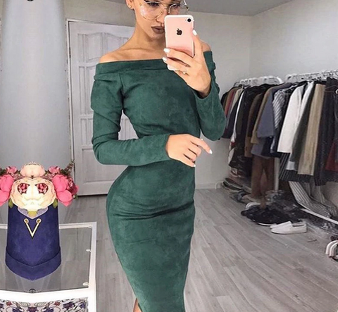Long-sleeved Off-shoulder Midi Suede-like Dress