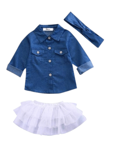 3-Pc Denim Long Sleeves & Tutu Set  (0-5Y) FREE SHIPPING