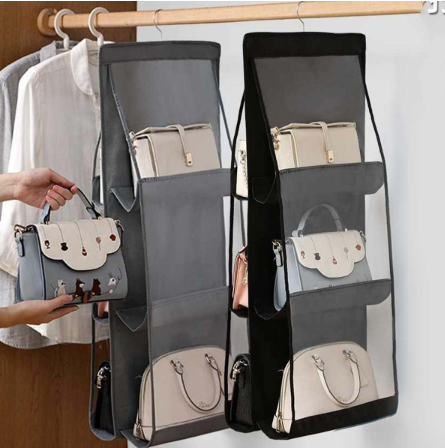 Double-side Six-Pocket Hanging Handbag Organizer