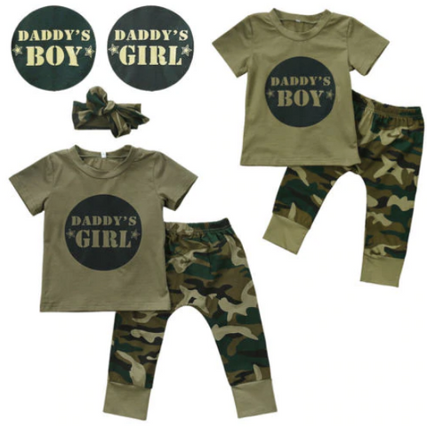 2-Pc Daddy's Boy & 3-Pc Daddy's Girl Army Soldier Camouflage Set