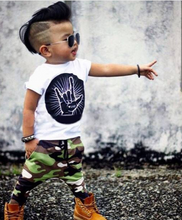 Kids White T-shirt + Camouflage Pants Outfit (Free Shipping)