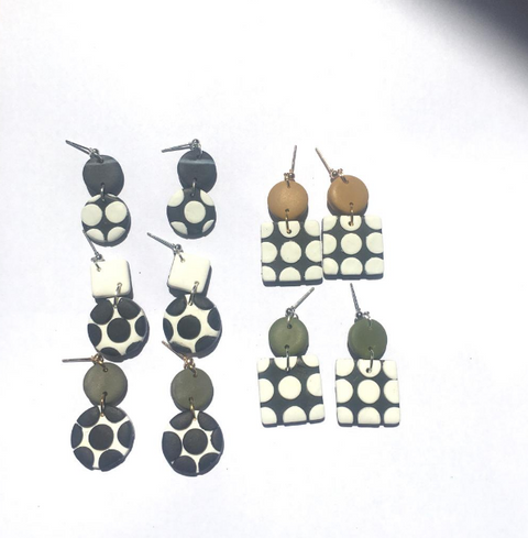 Sara Polka Dot Handmade Polymer Clay Earrings (Free Shipping)