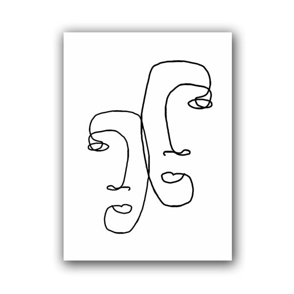 Naomi Abstract Faces Line Nordic Art Prints