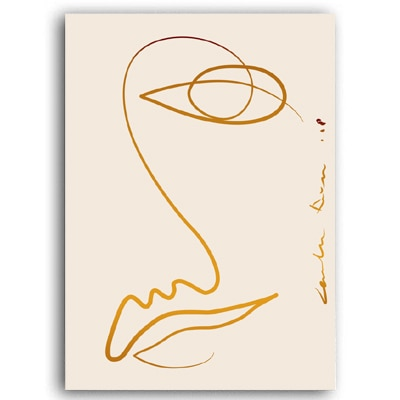 Pamela Abstract Line Body Face Art Prints