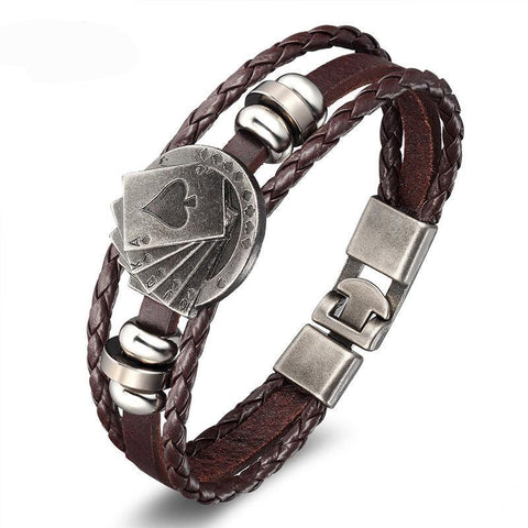 Men Vintage Leather Playing Cards Bracelet (Free Shipping)
