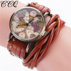 Vintage Retro Rivet Braided Leather World Map Watch Free Shipping