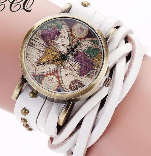 Vintage Retro Rivet Braided Leather World Map Watch