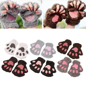 Lovely Cat Paw Fluffy Gloves ( FREE SHIPPING )