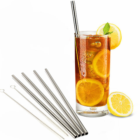 Stainless Steel Drinking Straws + Cleaner Brush