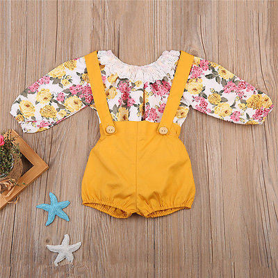 2-Pc Floral Top & Overall Set