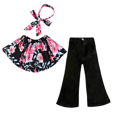 3-Pc Girls' Floral Top & Bell Bottom Set