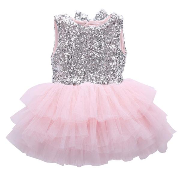 Sequin Layered Bow Lace Tulle Dress