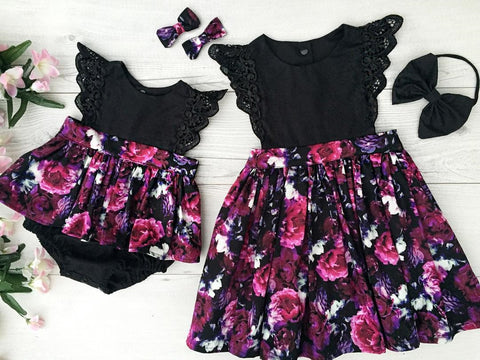 Matching Floral Romper Dresses for Sisters (0-7Y)