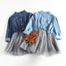 Girl Denim Mesh Patchwork Princess Dress