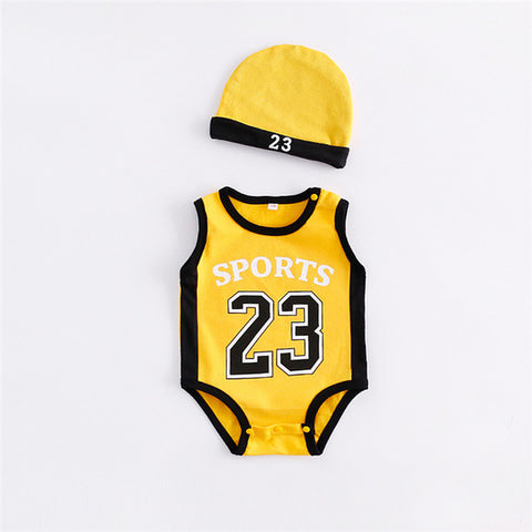 2-Pc Baby Boy Basketball Jersey Romper Set