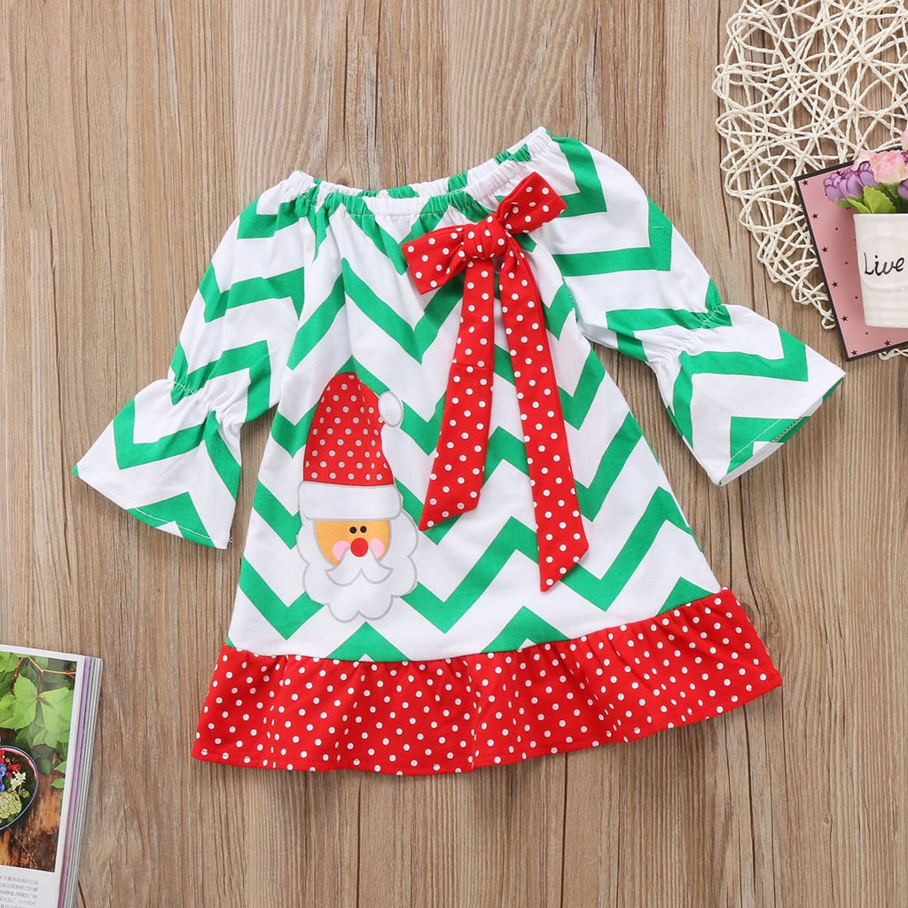 Christmas Bow Santa Ruffle Dress 1-6Y