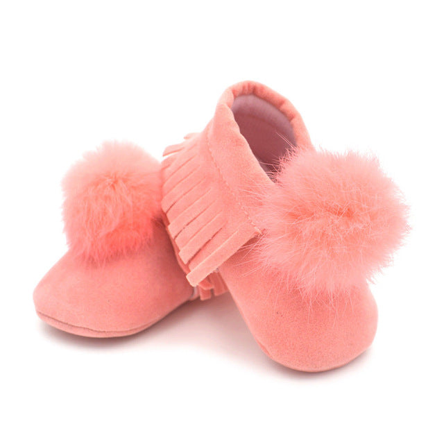 Fringe Pom Pom Crib Shoes